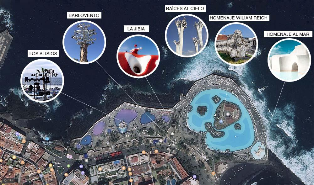localización de las esculturas en el Lago Martiánez