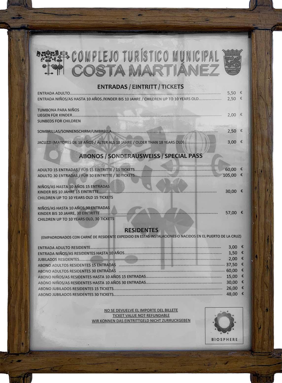 Listado de precios Lago Martiánez